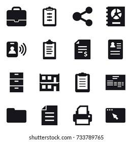 16 vector icon set : portfolio, clipboard, share, annual report, pass card, account balance, modular house