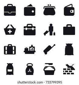 16 vector icon set : portfolio, wallet, purse, add to basket, passenger, suitcase iocn, suitcase, baggage checking, flour, fertilizer, washing powder, construct garbage