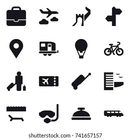 16 vector icon set : portfolio, journey, greate wall, trailer, air ballon, bike, passenger, ticket, suitcase, hotel, lounger, diving mask, service bell