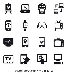 16 vector icon set : presentation, notebook, notebook globe, notebook connect, phone wireless, smartwatch, smart glasses, tv, mobile checking