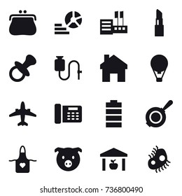 16 vector icon set : purse, diagram, store, lipstick, nipple, home, air ballon, airplane, pan, apron, pig, warehouse, microb