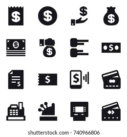 16 vector icon set : receipt, dollar, investment, money bag, money, money gift, diagram, account balance, mobile pay, credit card, cashbox, atm