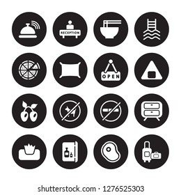 16 vector icon set : Reception bell, Meat, Minibar, Napkins, Nightstand, Luggage, Pizza, Olives, Open isolated on black background