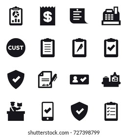 16 vector icon set : report, receipt, shopping list, cashbox, check in, baggage checking, inspector, mobile checking, clipboard list