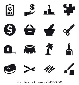16 vector icon set : report, investment, pedestal, puzzle, dollar coin, remove from basket, measuring tape, stadium, palm, scoop, pruner, clothespin, toilet brush