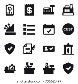 16 vector icon set : report, receipt, cashbox, list, check in, detector, baggage checking, inspector, reception