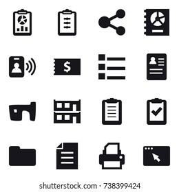 16 vector icon set : report, clipboard, share, annual report, pass card, receipt, list, slum, modular house