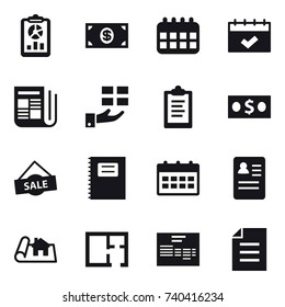 16 vector icon set : report, money, calendar, newspaper, gift, clipboard, sale, copybook, project, plan