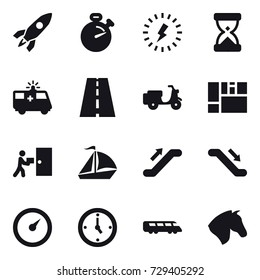 16 vector icon set : rocket, stopwatch, lightning, sail boat, escalator, barometer, watch, horse