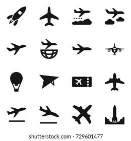 16 vector icon set : rocket, plane, weather management, journey, air ballon, deltaplane, ticket, airplane, departure, arrival