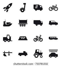 16 vector icon set : rocket, delivery, bike, taxi, plow, pickup, tractor, car wash