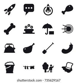 16 vector icon set : rocket, message, chicken leg, flower bed, kettle, shovel, eggplant, foam bucket, drying clothe, garden cleaning, floor washing