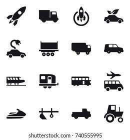 16 vector icon set : rocket, truck, eco car, electric car, train, trailer, bus, transfer, jet ski, plow, pickup, tractor