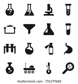 16 vector icon set : round flask, flask, microscope, vial, electrostatic, funnel, thermometer, viruses