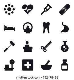 16 vector icon set : round around, first aid, mortar, pills bottle