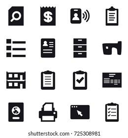 16 vector icon set : search document, receipt, pass card, clipboard, list, slum, modular house, passport, clipboard list