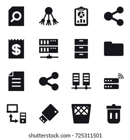 16 vector icon set : search document, share, report, receipt, server, trash bin