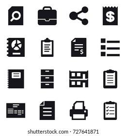 16 vector icon set : search document, portfolio, share, receipt, annual report, clipboard, account balance, list, copybook, modular house, clipboard list