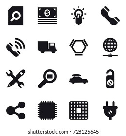 16 vector icon set : search document, money, bulb, phone, call, truck, hex molecule, globe connect, pencil wrench, car baggage, do not distrub