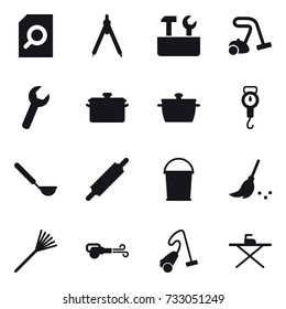 16 vector icon set : search document, drawing compass, repair tools, vacuum cleaner, pan, handle scales, ladle, rolling pin, bucket, broom, rake, blower, iron board