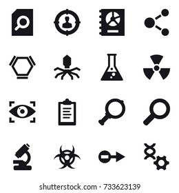 16 vector icon set : search document, target audience, annual report, molecule, hex molecule, virus, flask, nuclear, eye identity, clipboard, magnifier