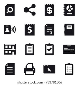 16 vector icon set : search document, share, receipt, annual report, pass card, account balance, copybook, modular house, clipboard list