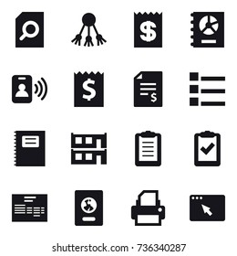 16 vector icon set : search document, share, receipt, annual report, pass card, account balance, list, copybook, modular house, passport