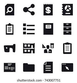 16 vector icon set : search document, share, receipt, annual report, clipboard, list, copybook, slum, modular house, architector