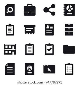 16 vector icon set : search document, portfolio, share, annual report, clipboard, atm receipt, modular house, passport, clipboard list
