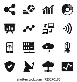 16 vector icon set : share, diagram, circle diagram, presentation, graph, notebook connect, wireless, phone wireless, server, cloude service, crystall  memory