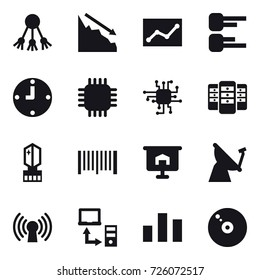 16 vector icon set : share, crisis, statistic, diagram, clock, chip, server, crystall  memory, barcode, presentation