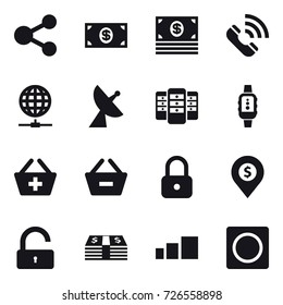 16 vector icon set : share, money, call, globe connect, satellite antenna, server, smartwatch, add to basket, remove from basket, lock, dollar pin, unlock, ring button