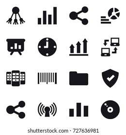 16 vector icon set : share, graph, diagram, presentation, clock, graph up, notebook connect, server, barcode