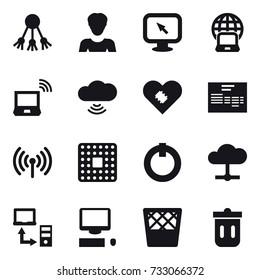 16 vector icon set : share, woman, monitor arrow, notebook globe, notebook wireless, cloud wireless, wireless, trash bin