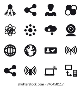 16 vector icon set : share, woman, atom core, atom, round around, cloude service, web cam, check in, wireless