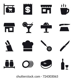 16 vector icon set : shop signboard, receipt, shop, hot drink, cocktail, restaurant, cutting board, stands for knives, cook hat, skimmer, knife, wine