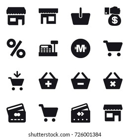 16 vector icon set : shop, basket, money gift, percent, cashbox, crypto currency, cart, add to cart, add to basket, remove from basket, delete cart, credit card