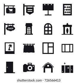 16 vector icon set : shop signboard, billboard, abacus, building, arch window, detector, photo, curtain, window, door, barn, clean  window