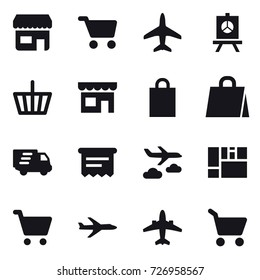 16 vector icon set : shop, cart, plane, presentation, basket, shopping bag, delivery, atm receipt, journey, airplane