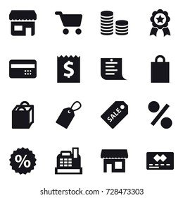 16 vector icon set : shop, cart, coin stack, medal, credit card, receipt, shopping list, shopping bag, label, sale label, percent, cashbox