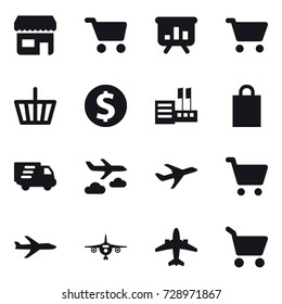 16 vector icon set : shop, cart, presentation, basket, dollar coin, store, shopping bag, delivery, journey, plane, airplane