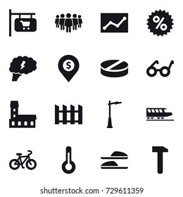 16 vector icon set : shop signboard, team, statistic, percent, brain, dollar pin, mansion, fence, outdoor light, train, bike, thermometer, slippers