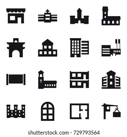 16 vector icon set : shop, castle, mansion, arch, cottage, houses, mall, fence, church, modular house, building, palace, arch window, plan