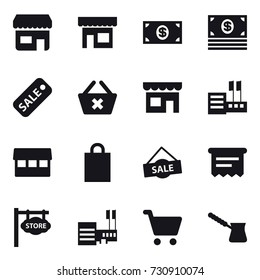 16 vector icon set : shop, money, sale, delete cart, store, market, shopping bag, atm receipt, store signboard, mall, turk