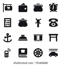 16 vector icon set : shop signboard, wallet, purse, alarm clock, abacus, windmill, service bell, wardrobe, stool, wheel, car wash