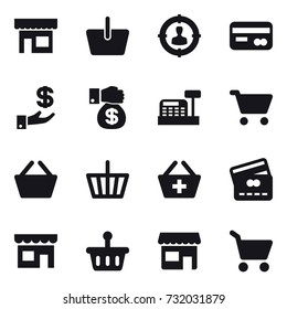 16 vector icon set : shop, basket, target audience, card, investment, money gift, cashbox, cart, add to basket, credit card