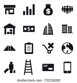 16 vector icon set : shop, graph, money bag, team, warehouse, money, skyscraper, district, pyramid, earth, passenger, stairs