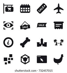 16 vector icon set : shop signboard, calendar, sale, plane, eye identity, atm receipt, info, castle, palm hammock, chicken