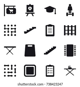 16 vector icon set : shop signboard, presentation, graduate hat, hoverboard, chip, stairs, iron board, cutting board, clipboard list