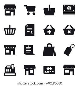 16 vector icon set : shop, cart, basket, money, account balance, add to basket, delete cart, shopping list, shopping bag, label, cashbox